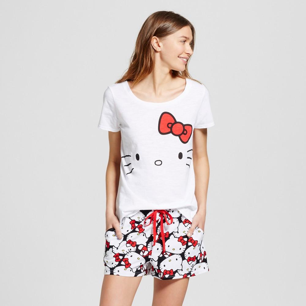 Hello Kitty Womens Pajama Set - White S