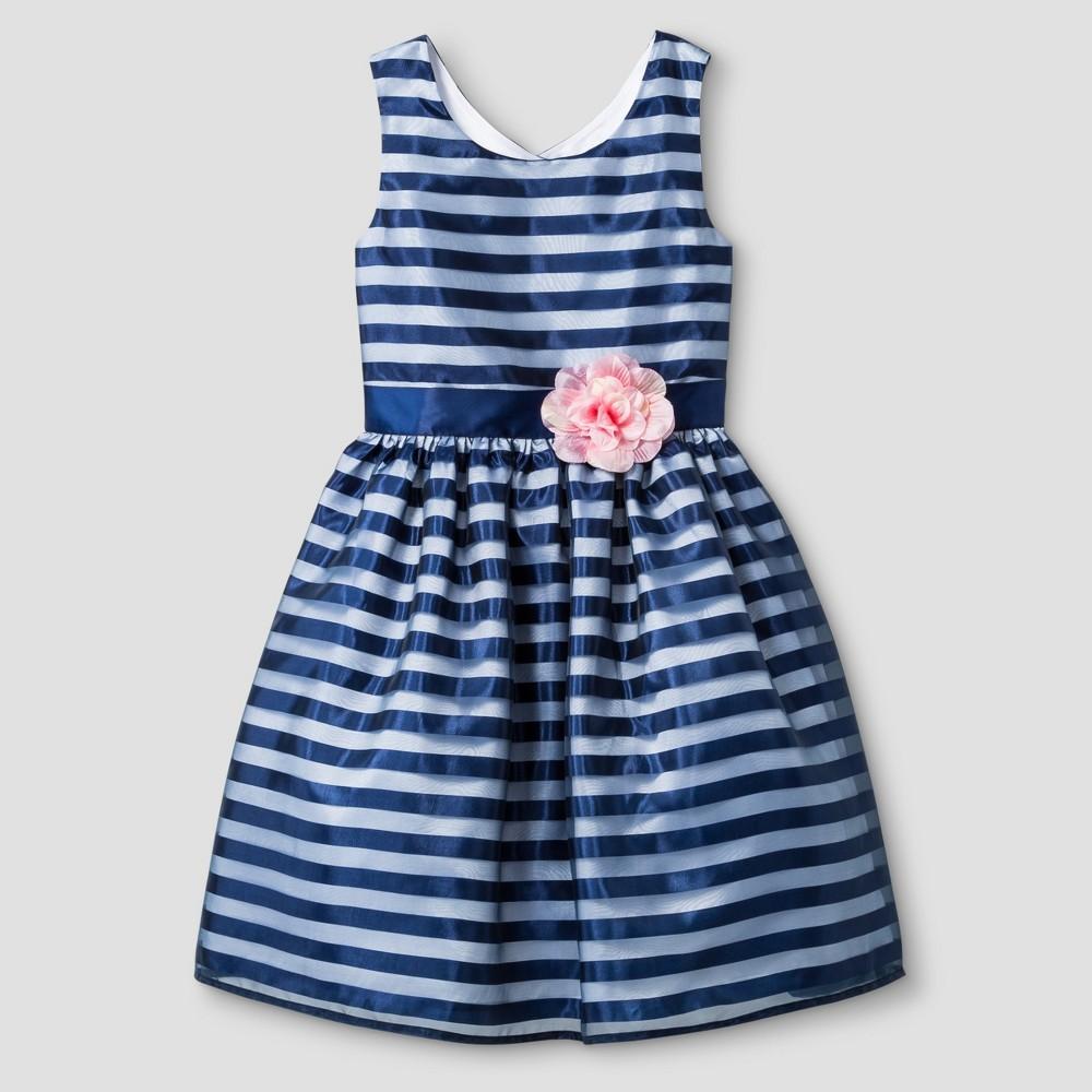 Girls' Zenzi Sleeveless Shadow Stripe Taffeta Dress – Navy 8, Girl's, Blue