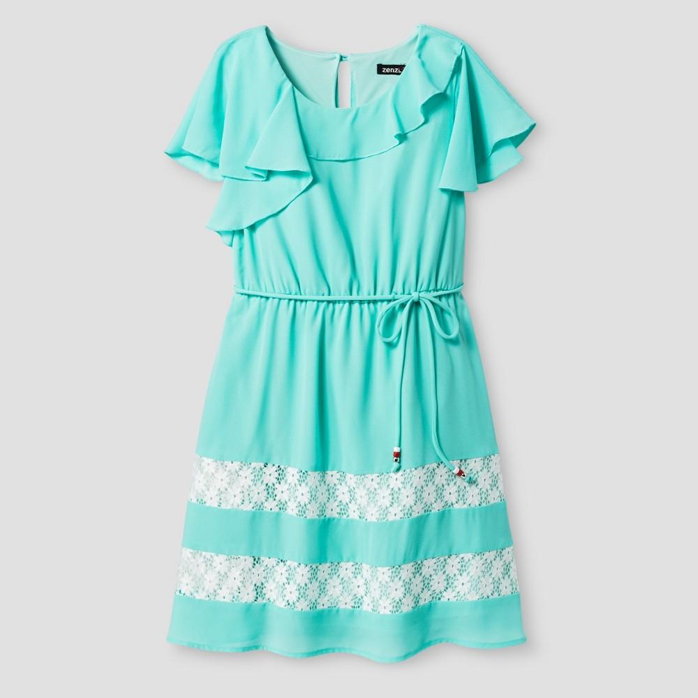 Girls' Zenzi Flutter Sleeve Dress with Crochet Lace – Mint 7, Girl's, Green