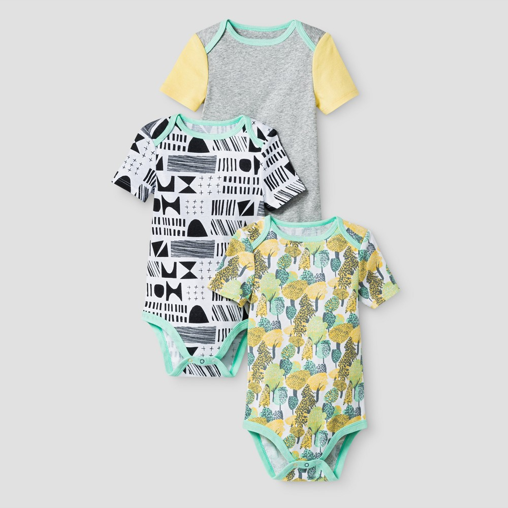 Oh Joy! Baby Geo/Forest 3pk Bodysuit Set - Green 6-9M, Infant Unisex, Size: 6-9 M