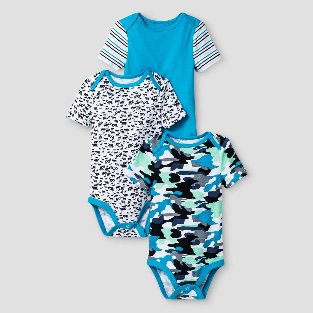 Oh Joy! Baby Boys Ants/Camo 3pk Bodysuit Set - Blue 18M, Size: 18 M
