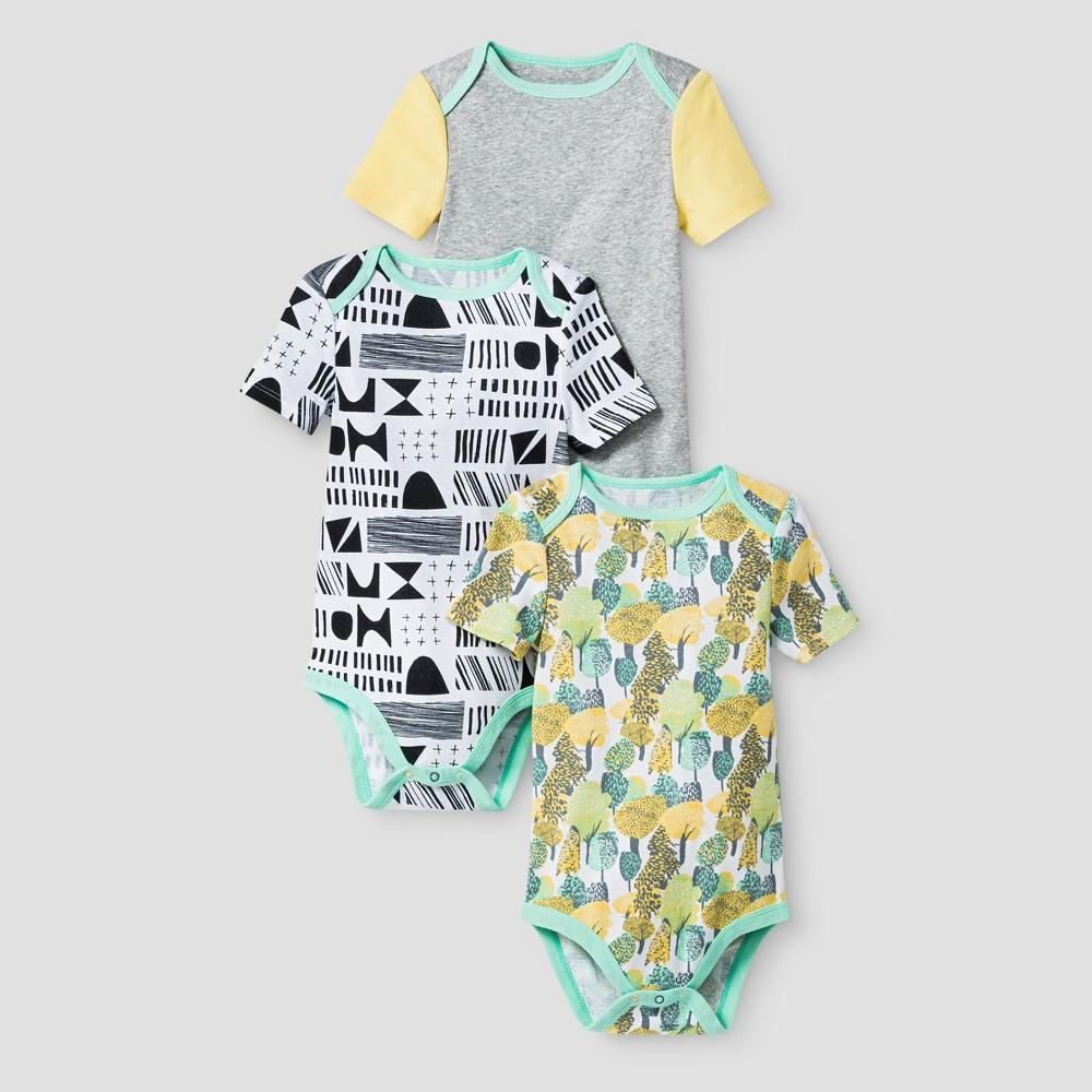 Oh Joy! Baby Geo/Forest 3pk Bodysuit Set - Green 18M, Infant Unisex, Size: 18 M