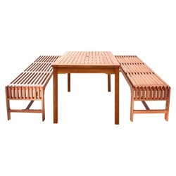Malibu 3pc Rectangle Wood Patio Dining Set - Brown - Vifah
