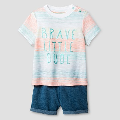 Baby Boys' Brave Little Dude Tee and Knit Shorts Set - Cat & Jack™ Orange Stripe 3-6 Months