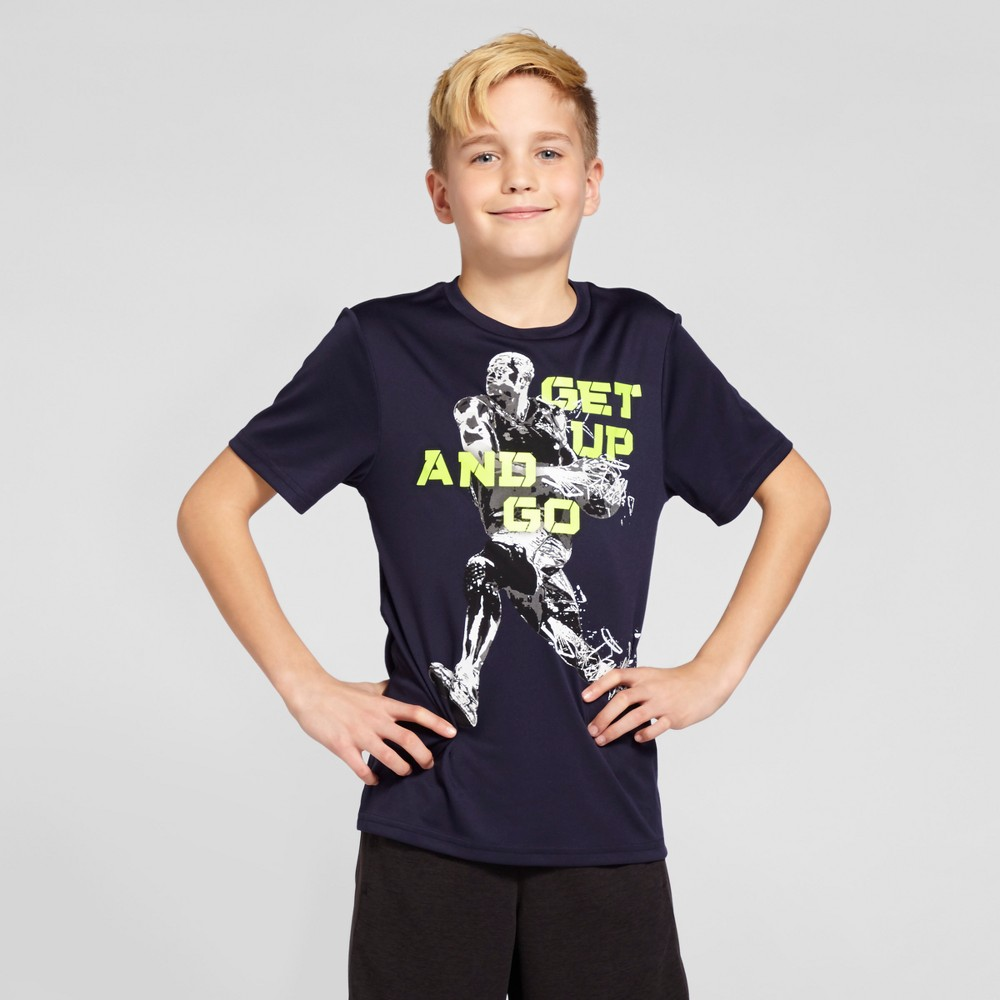Boys Graphic Tech T-Shirt - C9 Champion - Navy XS - Get Up And Go, Blue