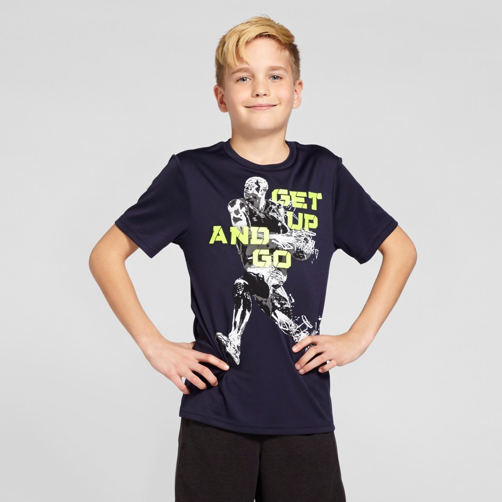 Boys' Graphic Tech T-Shirt - C9 Champion - Navy M - Get Up And Go, Blue