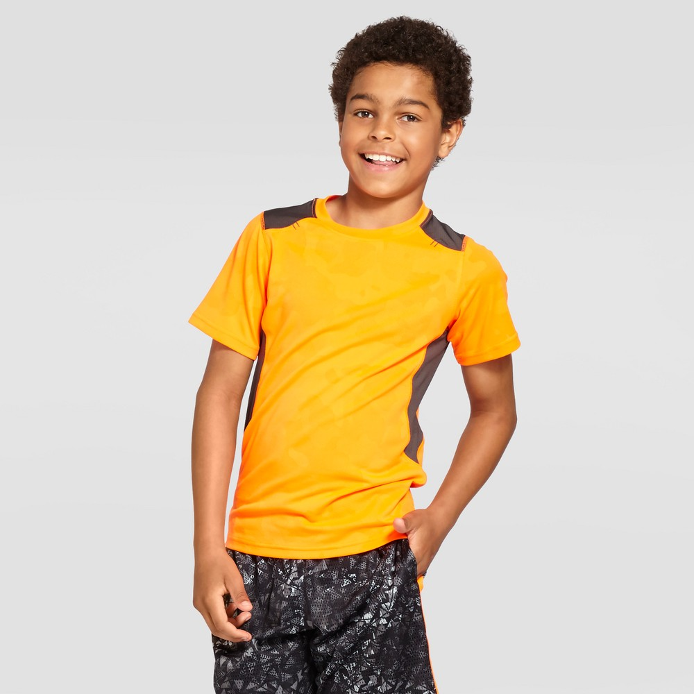Boys Textured Camo Tech T-Shirt - C9 Champion - Orange Camo XL