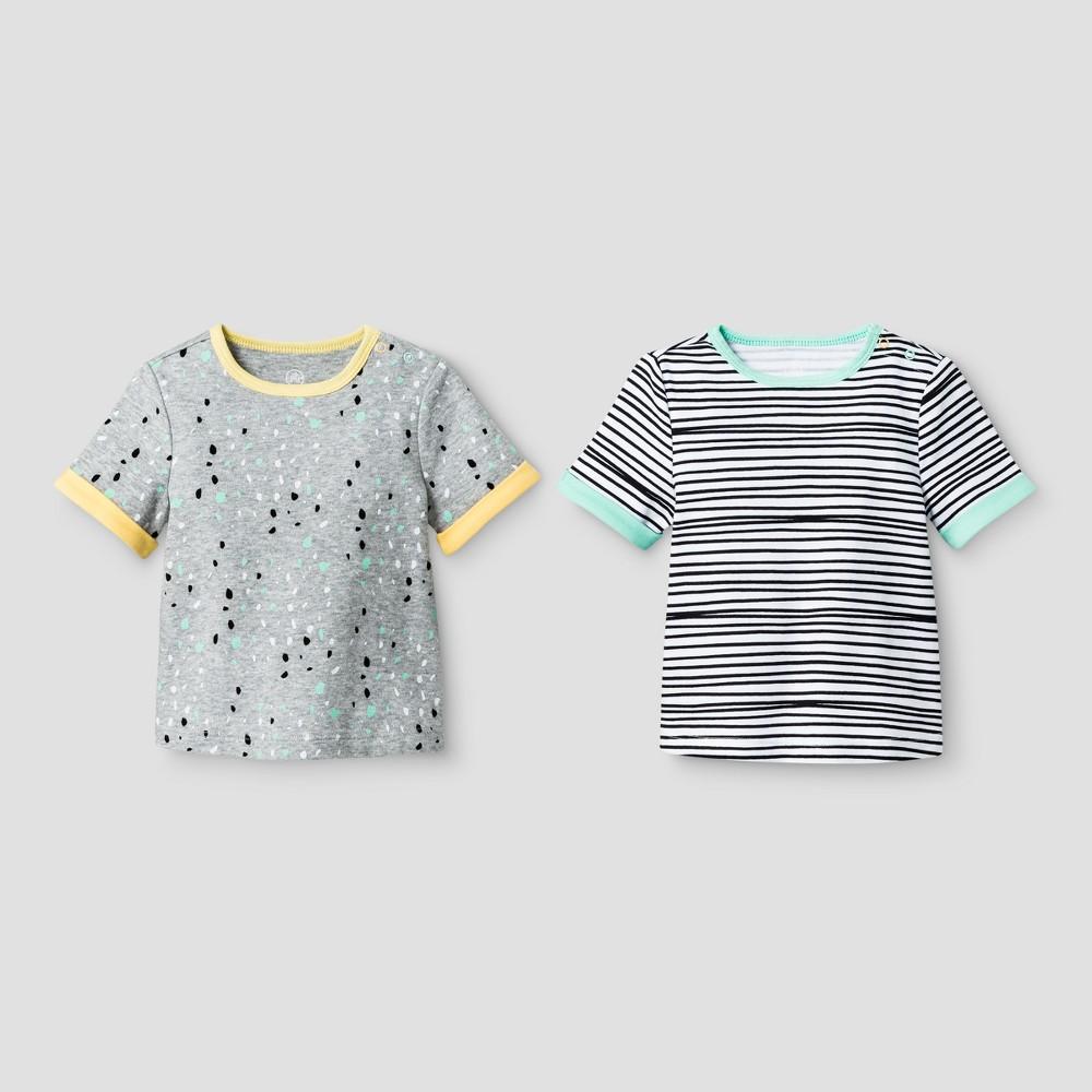 Oh Joy! Baby Stripes/Dots 2pk T-Shirt Set - Multi-Colored 3-6M, Infant Unisex, Size: 3-6 M, Green