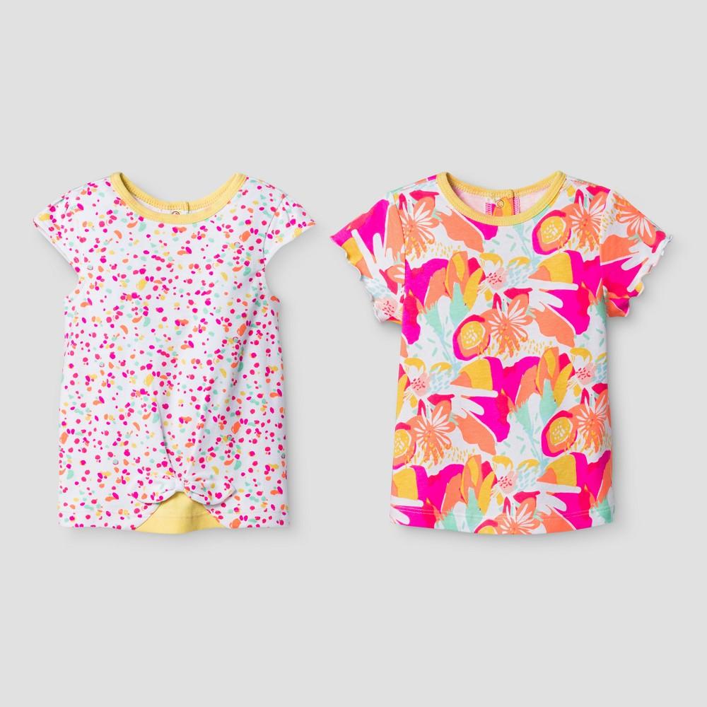 Oh Joy! Baby Girls Floral Dot 2pk T-Shirt Set - Multi-Colored 6-9M, Size: 6-9 M, Yellow