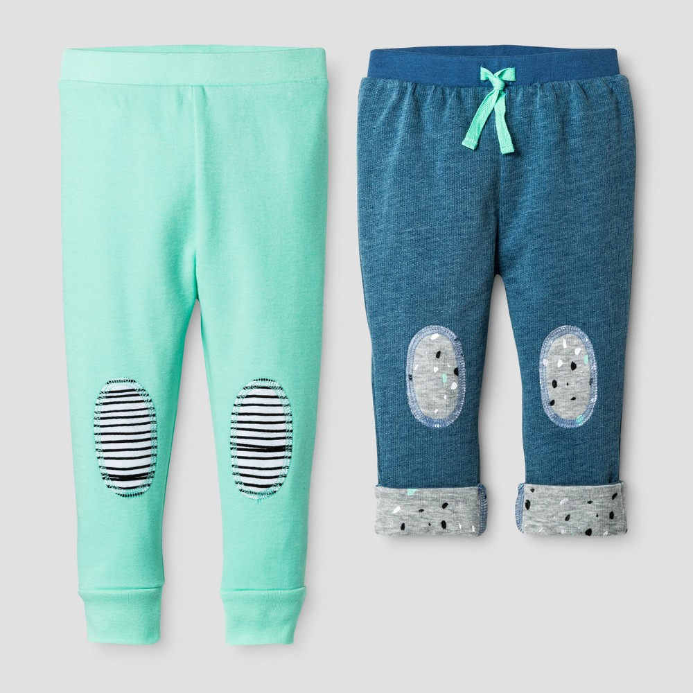 Oh Joy! Baby Denim/Mint 2pk Pants Set - Green 3-6M, Infant Unisex, Size: 3-6 M