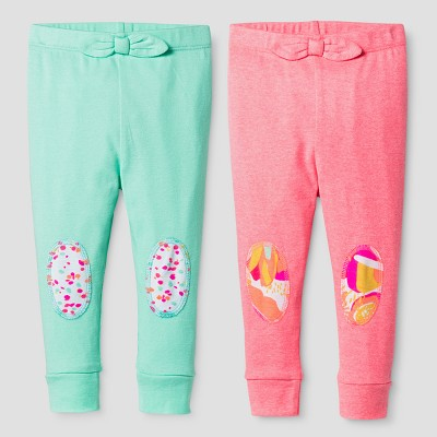 Oh Joy!® Baby Girls' Floral Dot 2pk Pants Set - Coral 0-3M
