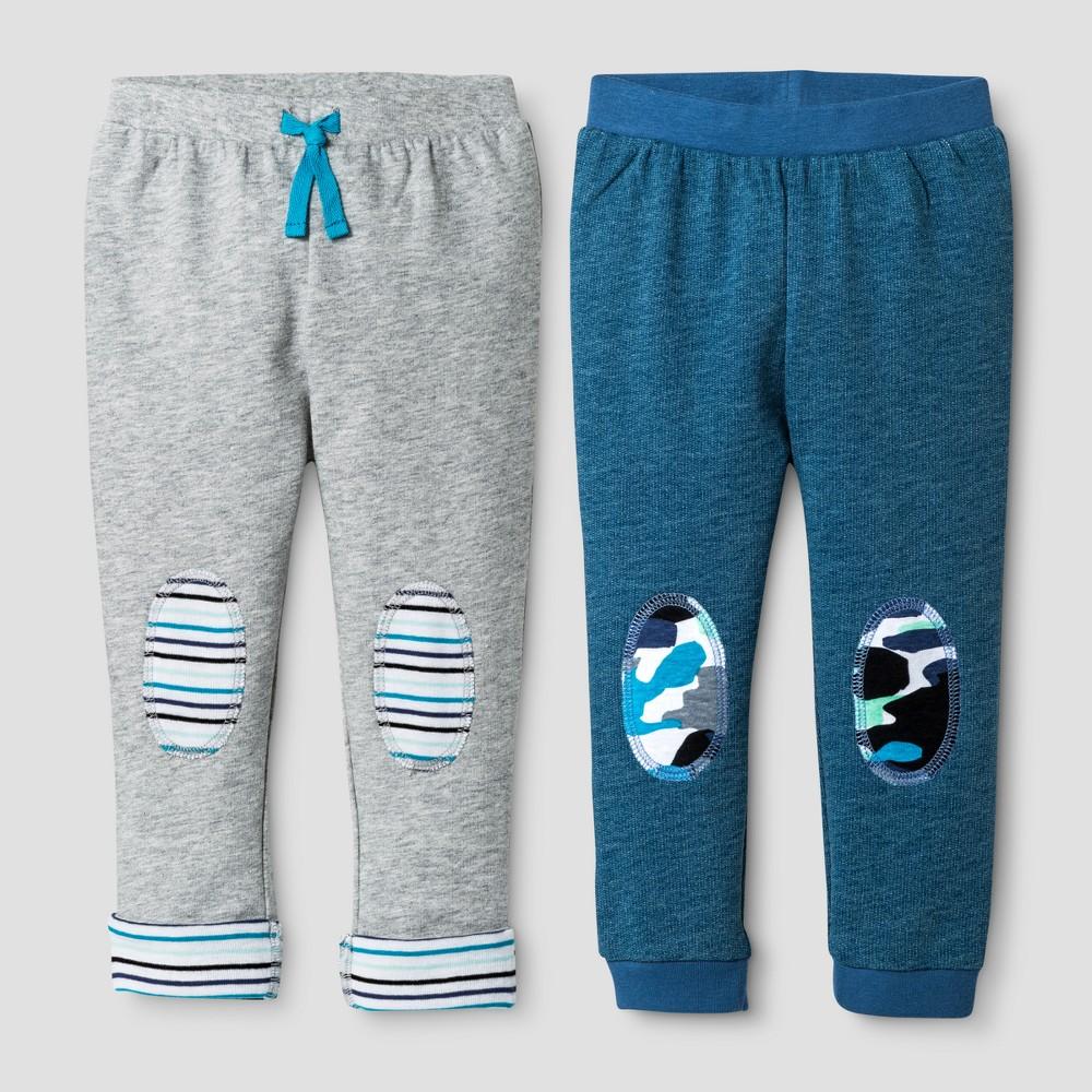Oh Joy! Baby Boys Camo/Stripe 2pk Pants Set - Heather Gray 6-9M, Size: 6-9 M
