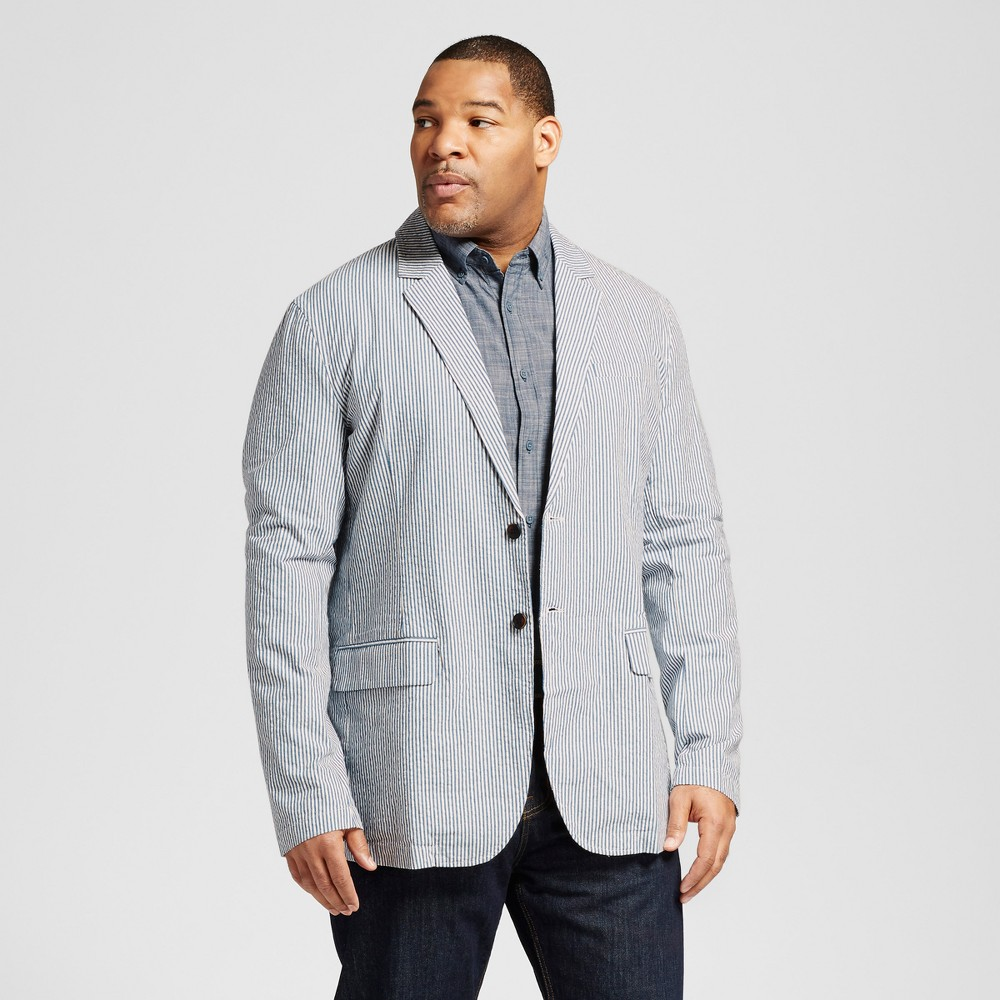 Mens Big & Tall Seersucker Blazer - Merona Blue 5XBT