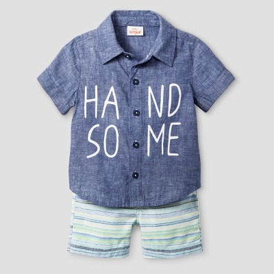 Baby Boys' Handsome Shorts sleeve Shirt and Shortss Set - Cat & Jack™ Blue 12 Months