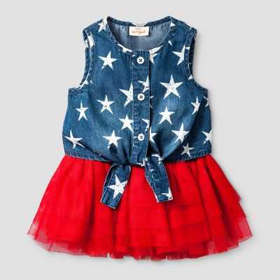 Baby Girls' Denim Top and Tutu Set - Baby Cat & Jack™ Denim/Red 12 Months