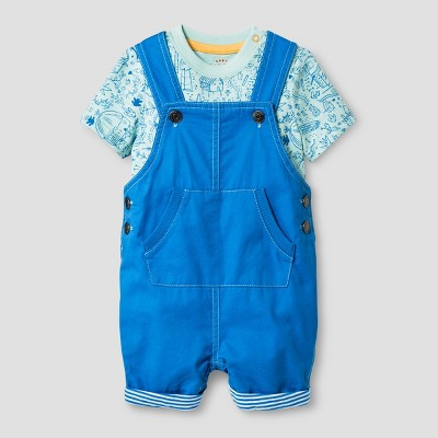 Baby Boys' Bodysuit and Overall Set - Cat & Jack™ Green/Blue 6-9 Months