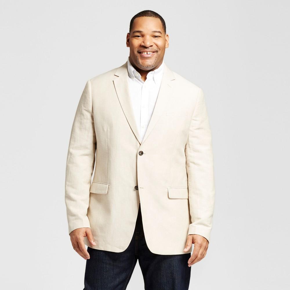Mens Big & Tall Slim Fit Linen Suit Coat - Merona Khaki MT, Beige