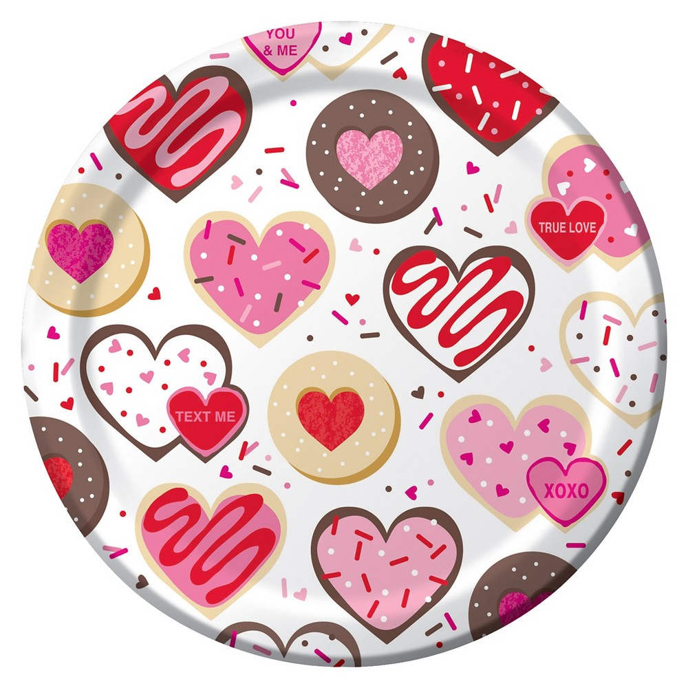 Frosted Fun Valentine's Day Paper Plates - 8 Pack, Multi-Colored