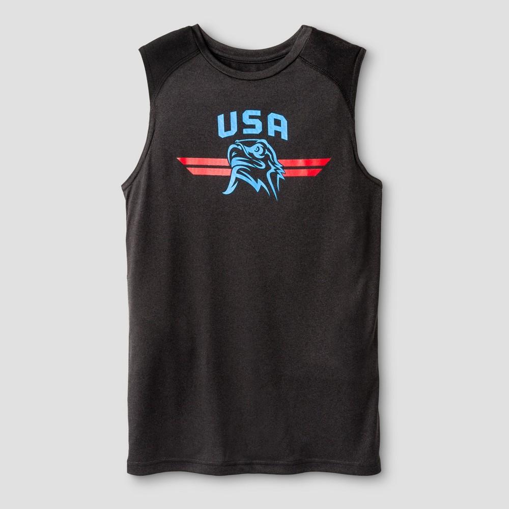 Boys Sleeveless Graphic Tech T-Shirt - C9 Champion - Black M - USA Eagle