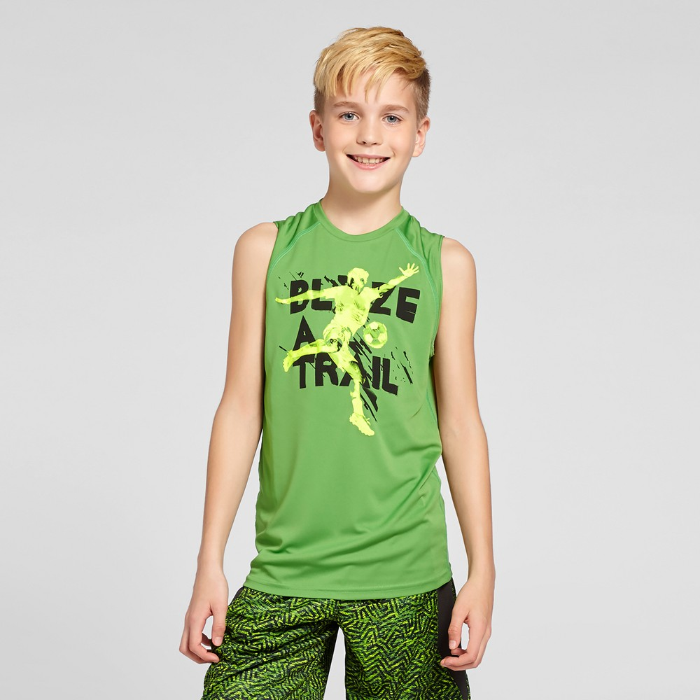 Boys Sleeveless Graphic Tech T-Shirt - C9 Champion - Green L - Quest For The Best