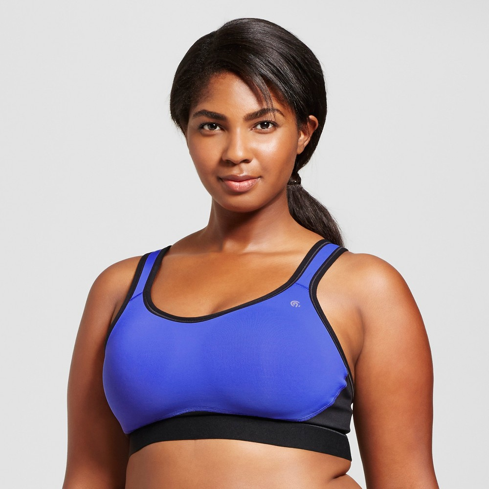 Womens Plus-Size Power Core Compression Max High Support Racerback Sports Bra - C9 Champion - Steel Blue 4X