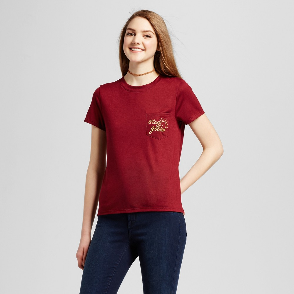 Womens Stay Golden Embroidered Pocket Graphic T-Shirt Brandywine S - Modern Lux (Juniors)