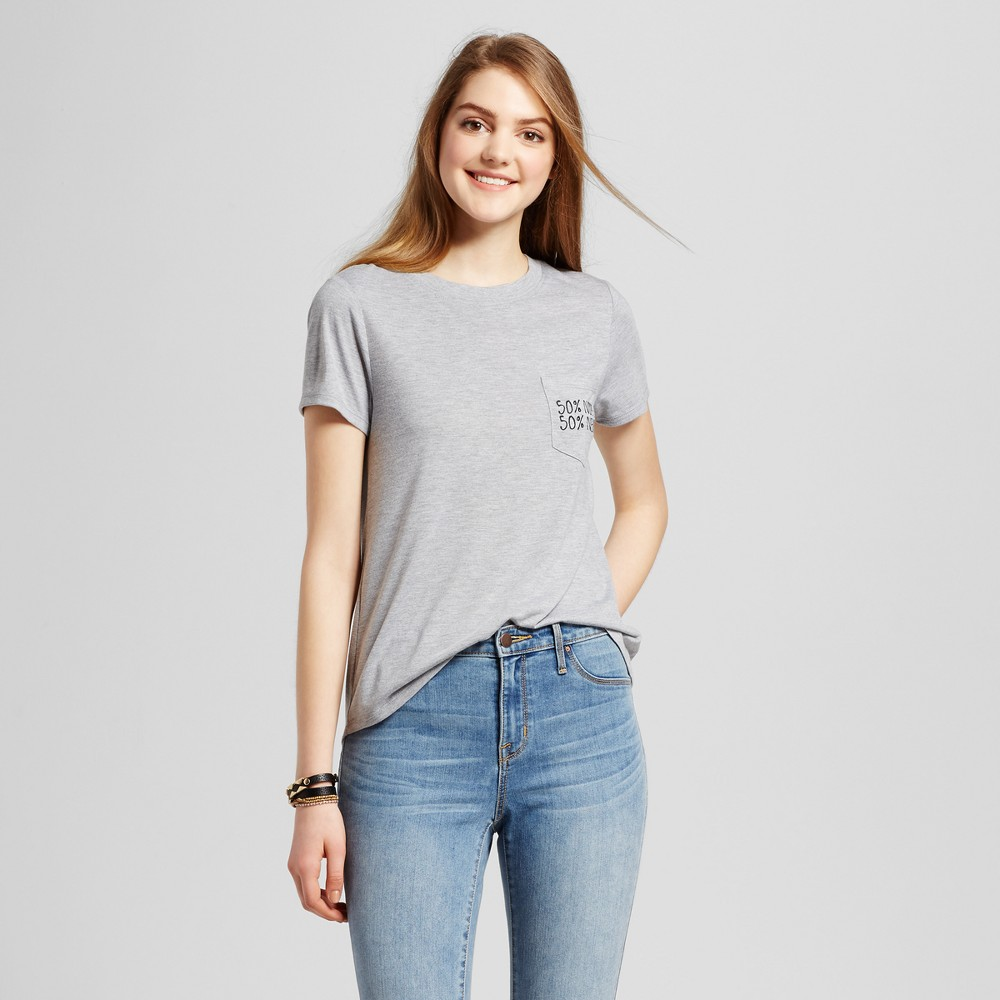 Womens 50% Nope 50% Never Embroidered Pocket Graphic T-Shirt Heather Gray M - Modern Lux (Juniors)