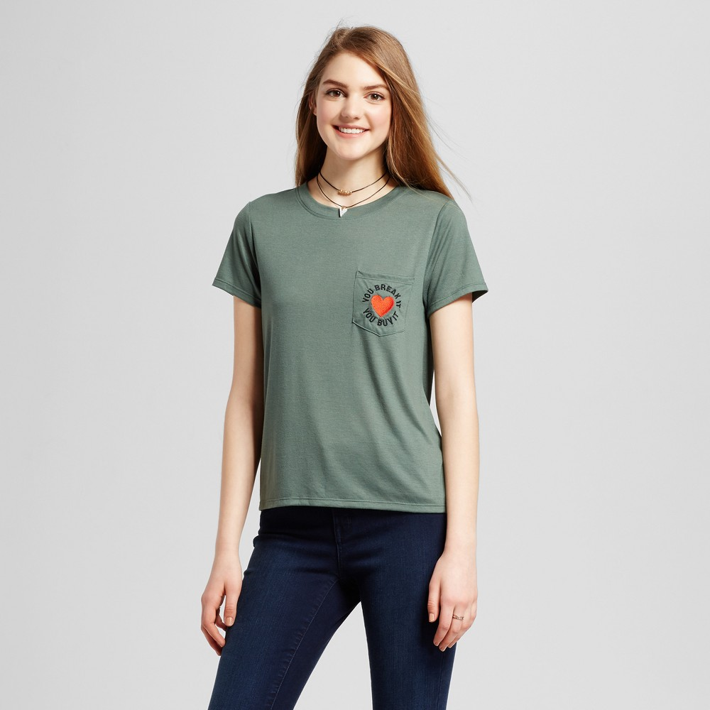 Womens Break It Buy It Embroidered Pocket Graphic T-Shirt Moss Green L - Modern Lux (Juniors)