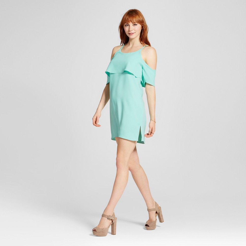 Women's Cold Shoulder Popover Dress Mint L – Le Kate (Juniors'), Green