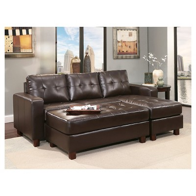 Taylor Leather Sectional And Ottoman   Espresso   Abbyson Living