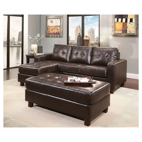 Taylor Leather Sectional And Ottoman Espresso Abbyson Living Target