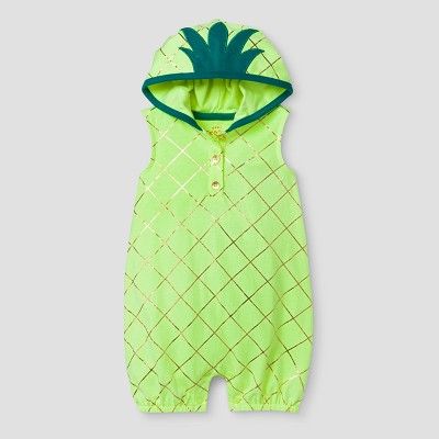 Baby Girls' Hooded Pineapple Romper - Cat & Jack™ Yellow 3-6 M