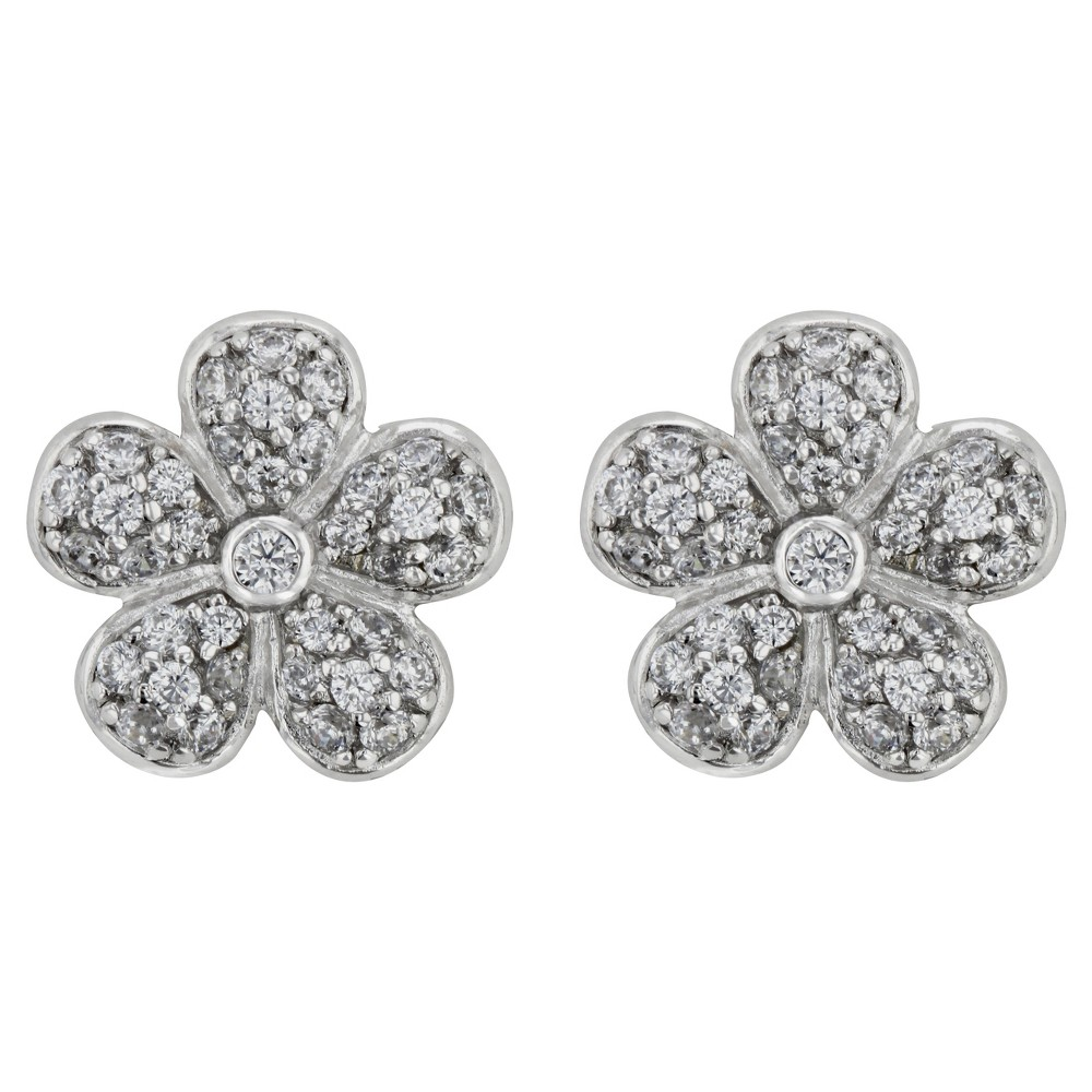 Button Earrings Sterling Flower with Cubic Zirconia - Silver/Clear, Womens