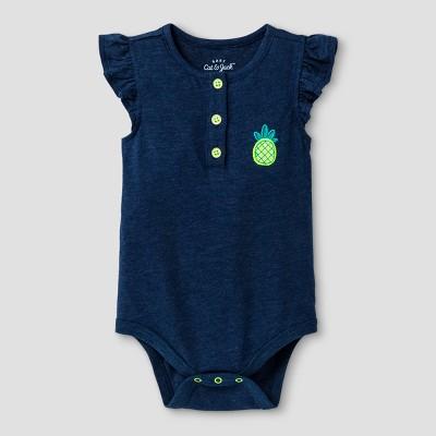 Baby Girls' Faux Denim Pineapple Bodysuit - Cat & Jack™ Blue 0-3 M