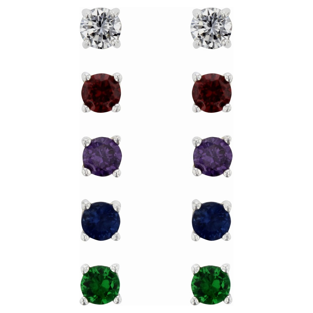 Cubic Zirconia Studs Earrings Sterling - 5pk - Silver/Green/Purple, Womens
