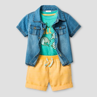 Baby Boys' 3 Piece Shorts and Shirt Set Cat & Jack™ - Blue/Sea Green/Orange