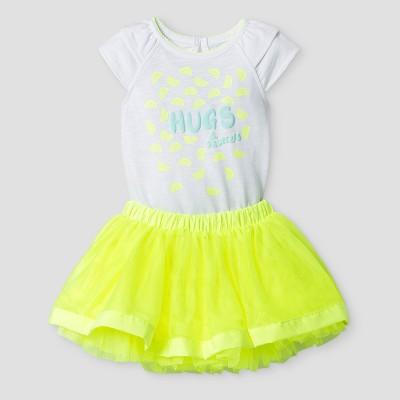 Baby Girls' 2 Piece Ruffle Bodysuit and Tutu Skirt Cat & Jack™ - White/Yellow NB