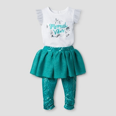 Baby Girls' 2 Piece Mermaid Bodysuit and Skeggings - Cat & Jack™ White/Green 6-9 M