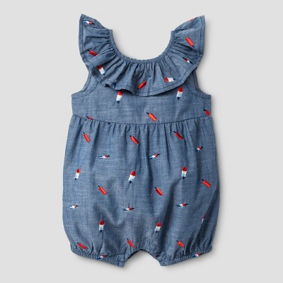 Baby Girls' Bow-Back Romper - Baby Cat & Jack™ Dark Blue 6-9 Months