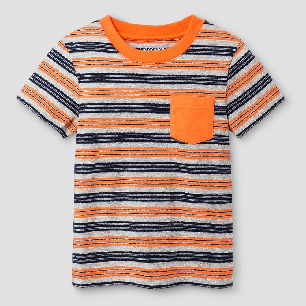 Toddler Boys Crew Neck T-Shirt - Cat & Jack Orange Stripe 18M, Size: 18 M