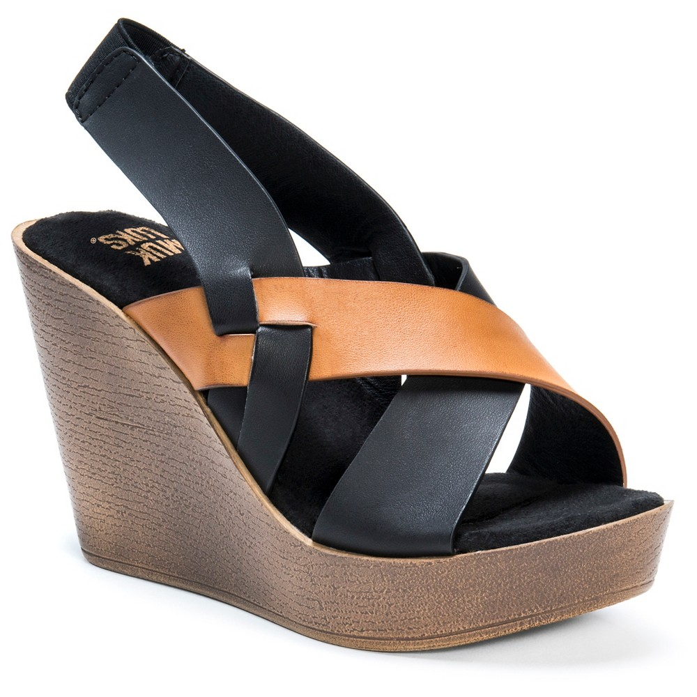 Womens Muk Luks Beth Quarter Strap Wedge Sandals - Cognac 7, Brown
