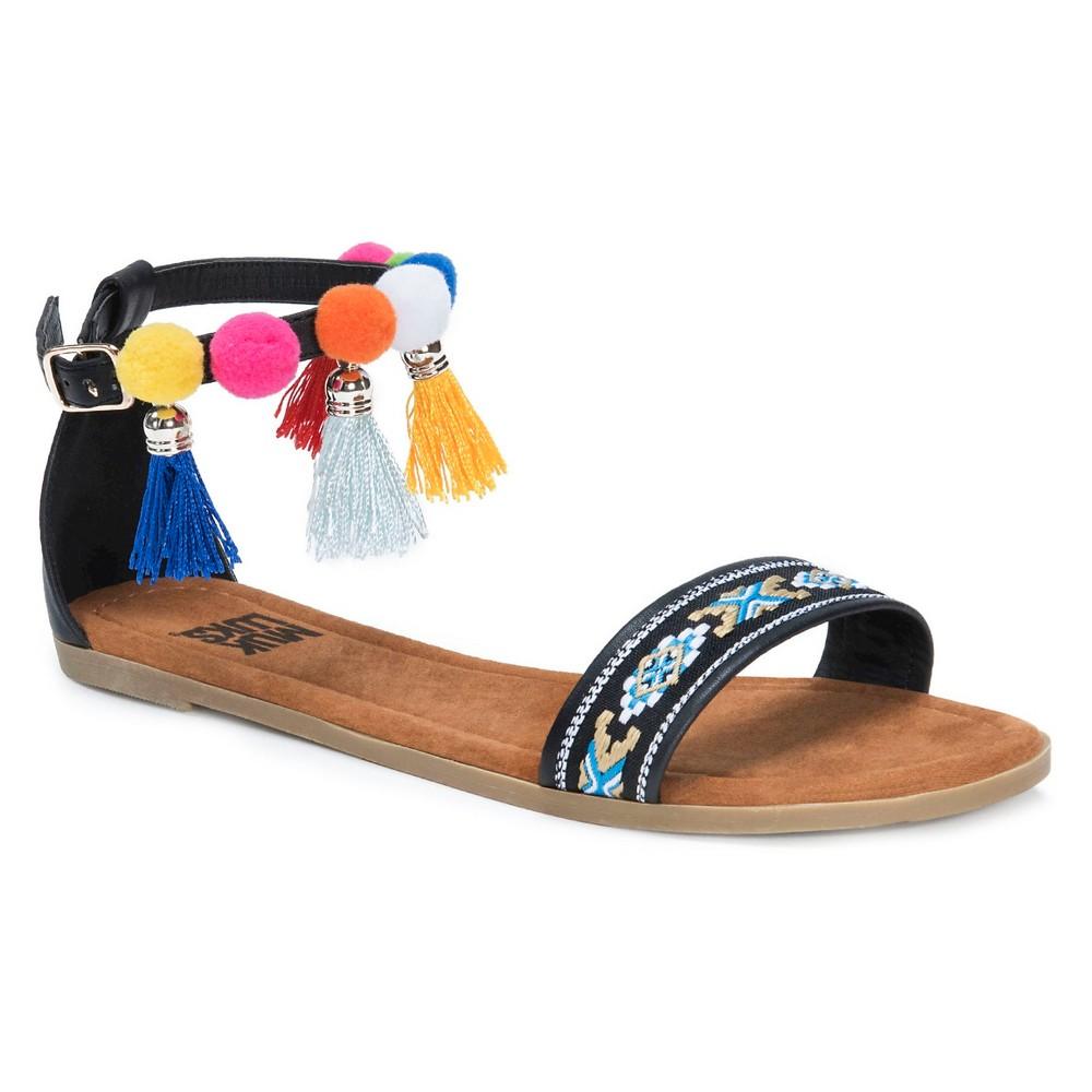 Womens Muk Luks Anaya Quarter Strap Sandals - Black 9