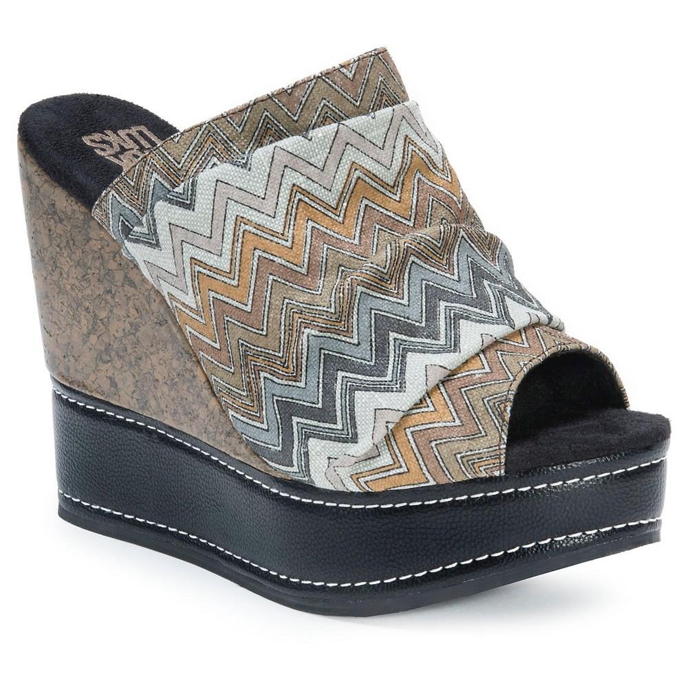 Womens Muk Luks Peyton Wedge Slide Sandals - Gray 8