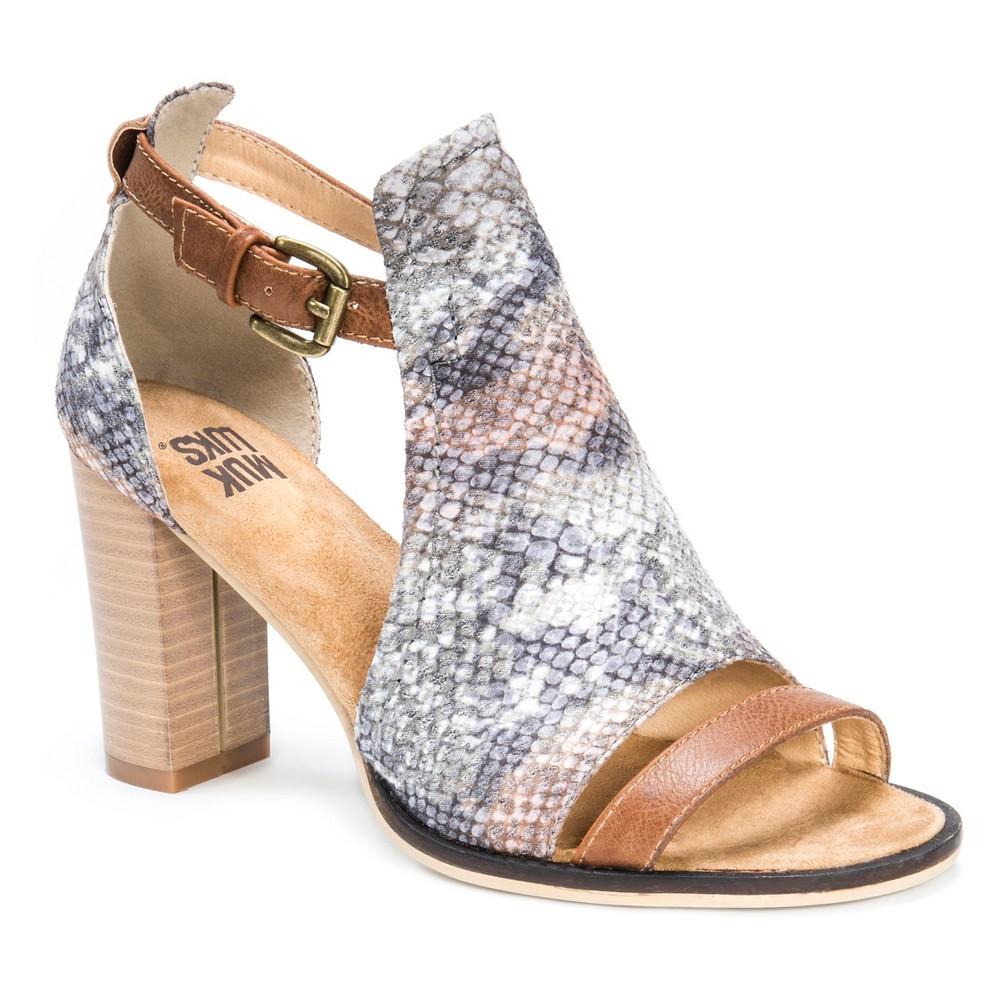 Womens Muk Luks Darcey Block Heel Quarter Strap Sandals - Brown 8