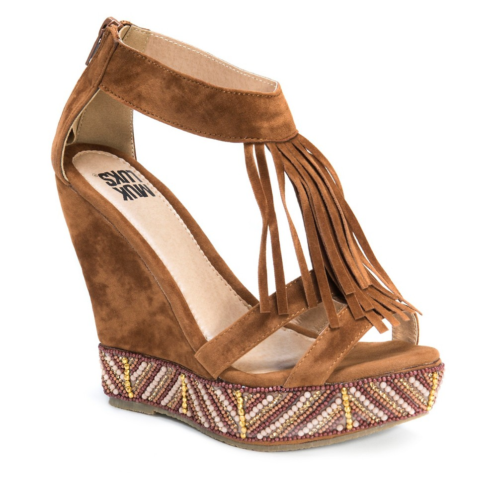Womens Muk Luks Ciara Quarter Strap Wedge Sandals - Cognac (Red) 8