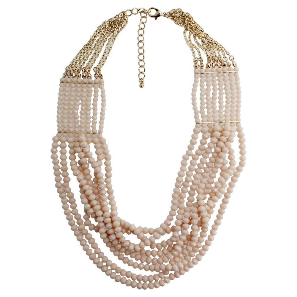 Fashion Beaded 8 Row Necklace - 21.5- Gold/Cream, Womens