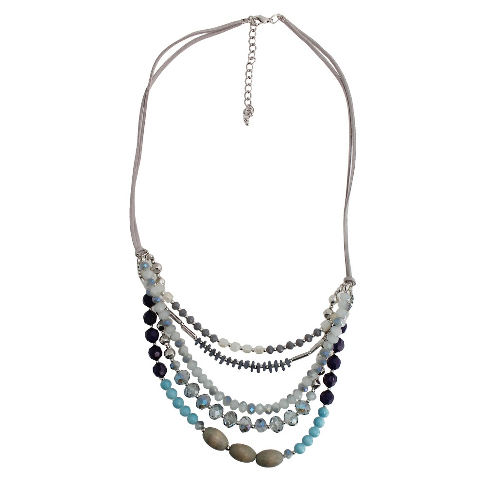 Fashion Beaded Layered Necklace - 25- Silver/Blue, Womens