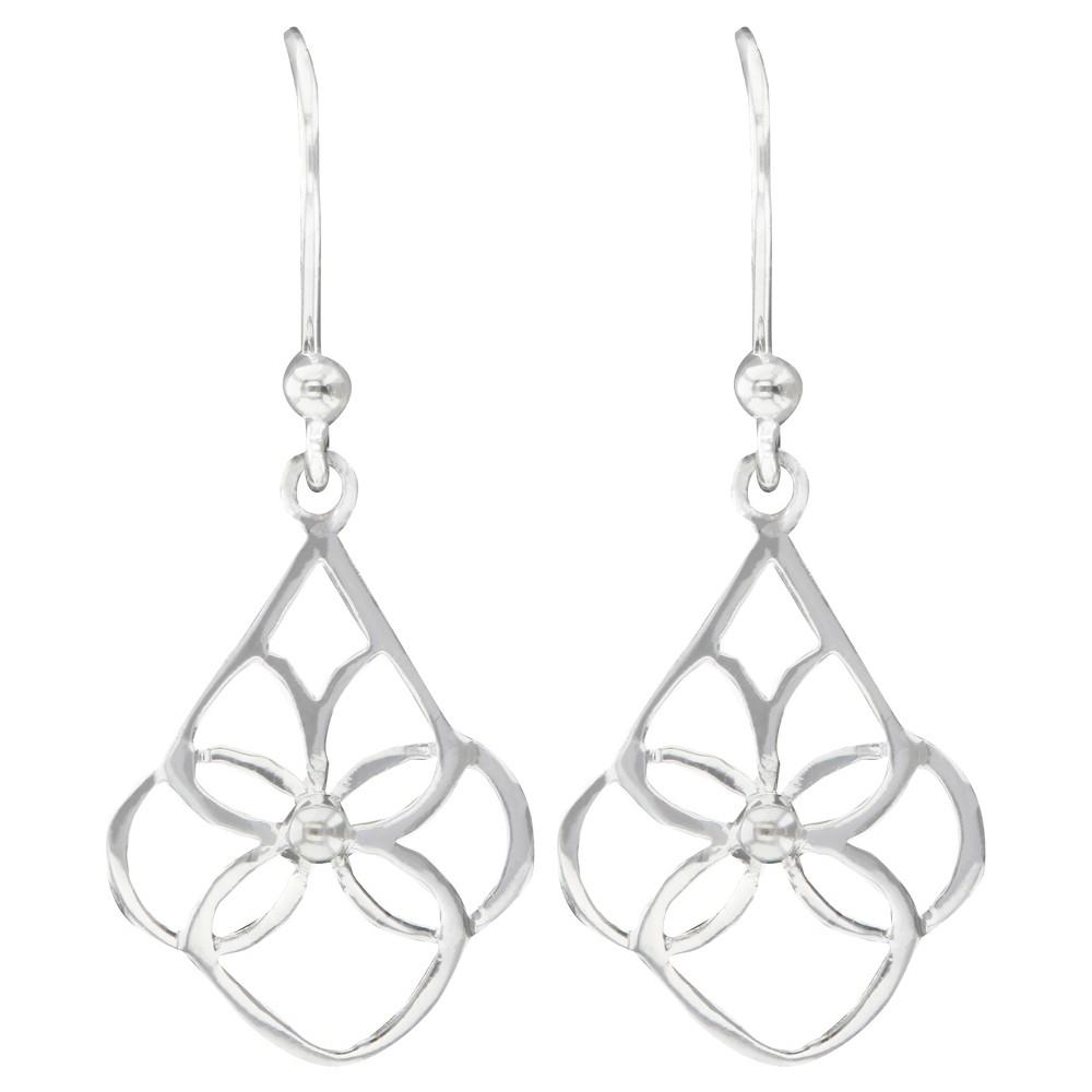 Drop Dangle Earrings Plated Brass Open Cut Floral Design Teardrop - Silver, Womens