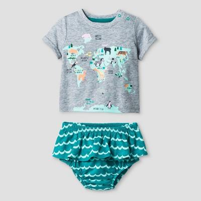 Baby Girls' World Map T-Shirt and Bloomer Set - Cat & Jack™ Green 6-9 Months