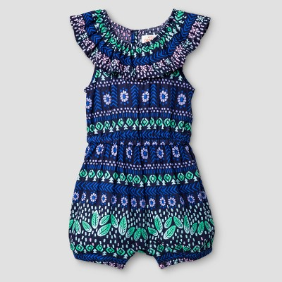 Baby Girls' Ruffle Neck Romper - Cat & Jack™ Forest Green 3-6 Months
